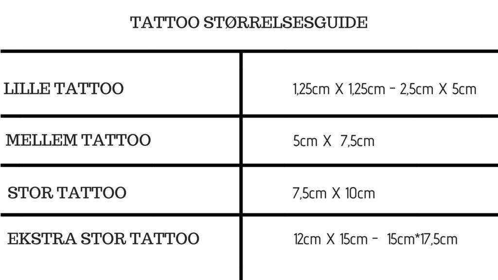 Størrelsesguide - oversigt over tatoveringer